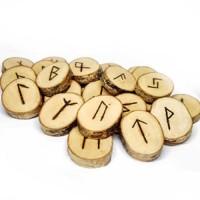 Ръчно изработен комплект дървени Руни