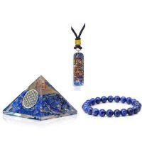 3 в 1 комплект Защита и Бизнес успех – Пирамида  + медальон оргонит + гривна с Лапис лазули