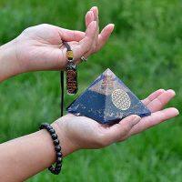 3 в 1 – комплект Защитна Пирамида оргонитит + медальон оргонит + гривна, с Тумалин